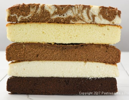 Cake layers cut in half for From 1 Recipe Comes 6 Different Cake Layers