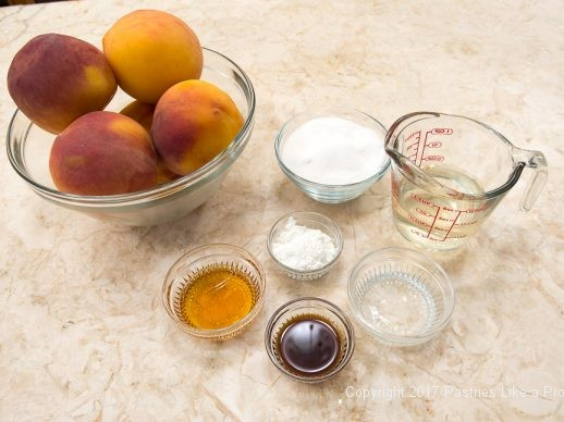 Ingredients for White Wine Amaretto Peach Sauce