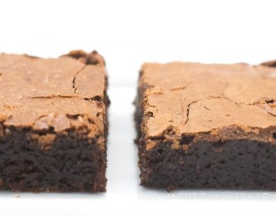 Side by side comparison of the Cocoa Brownies