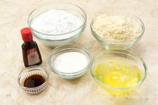 Ingredients for the French Macarons