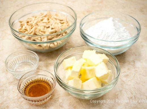 Almond filling ingredients for Pithiviers made with Blitz Puff Pastry
