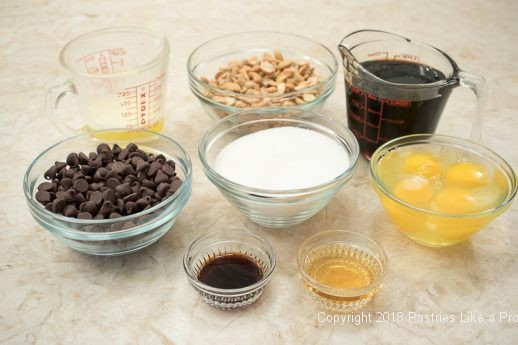 Ingredients for the Chocolate Cashew Derby Pie