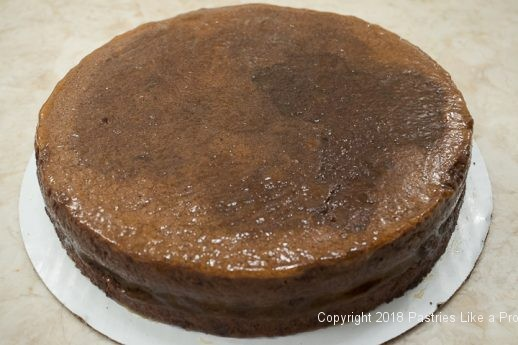 Cake covered with apricot jam for Viennese Chocolate Punchtorte