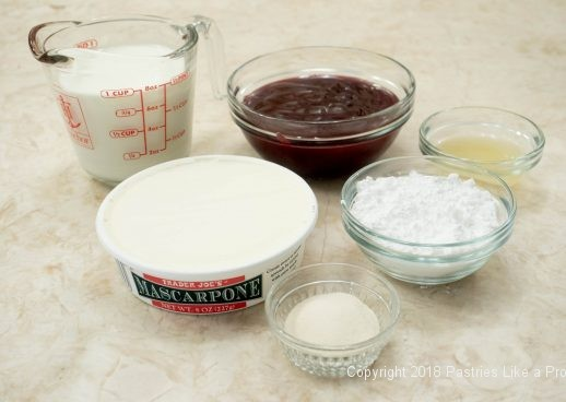 Mousse ingredients for Hazelnut Meringues with Raspberry Mascarpone Mousse