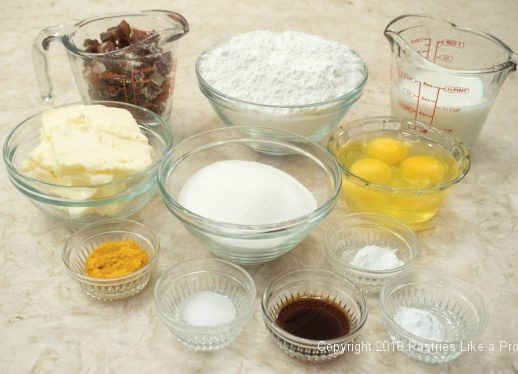 Ingredients for Crumb Topped Orange Date Muffins