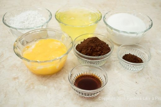 Spongecake ingredients for the Viennese Chocolate Punchtorte