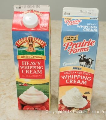 Containers of cream for Heavy Cream