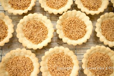 Brickle in shells for Browned Butter Tarts