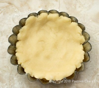 Dough in tart pan for Browned Butter Tarts
