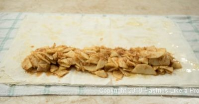 Apple filling on phyllo for Traditional Apple Strudel