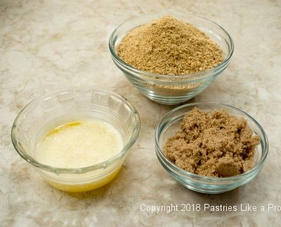 Crust ingredients for Pumpkin Cheesecake with Salted Caramel Sauce