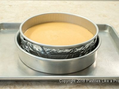 Pan on tray for Pumpkin Cheesecake
