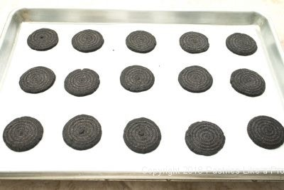 Tray of unbaked cookies for Almost Oreos with Black Onyx Cocoa