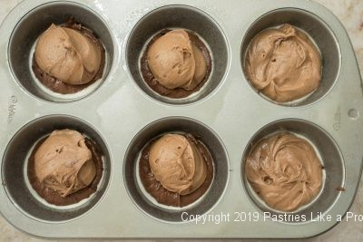 Mocha batter over chocolate batter for Individual Variegated Pound Cakes
