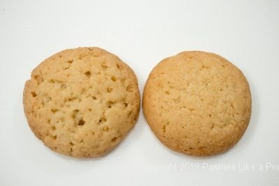 Undissolved and dissolved ammonium carbonate in Vanilla Wafers.