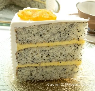 Poppyseed Cake with Orange Curd and White Chocolate Buttercream