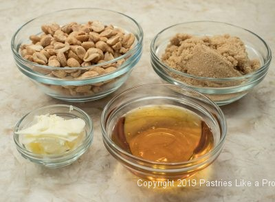 Topping ingredients for the Honey Peanut Coffeecake