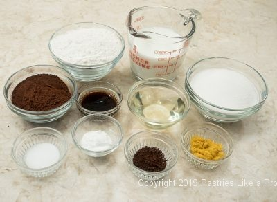Cake ingredients for Chocolate Orange Pudding Cake