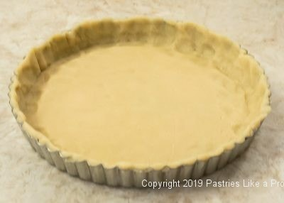 Completed shell for Peach Curd Tart
