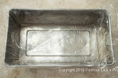 Pan line with plastic wrap