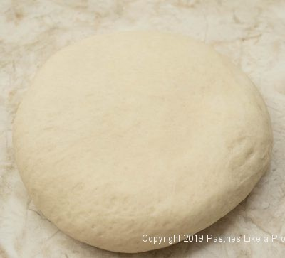 Dough kneaded and shaped