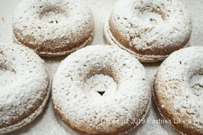 Powdered Sugar Crumb doughnuts
