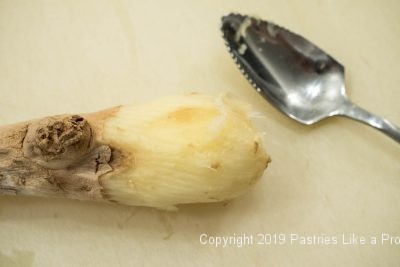Serrated spoon and ginger