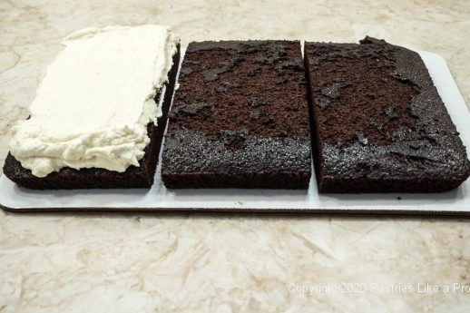 Chocolate cake cut into three pieces