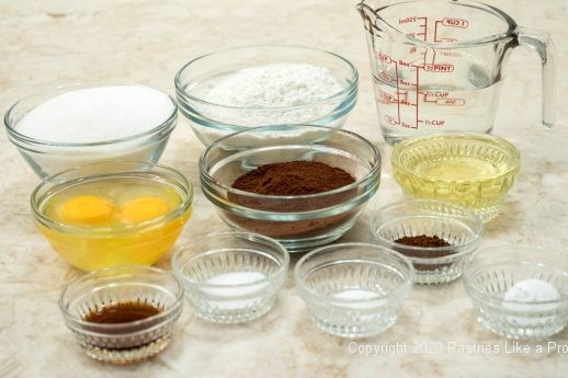 Ingredients for Chocolate Creamsicle cake