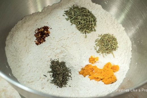Herbs in mixing bowl