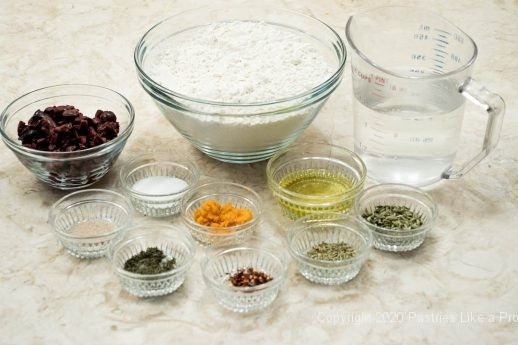 Ingredients for No-Knead Sicilian Olive Bread