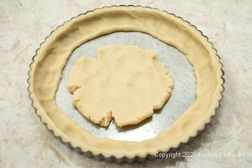 Pastry in center of pan