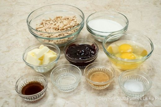 Filling ingredients to the Almond Raspberry Tart