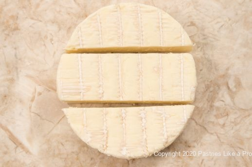 Brie cut into 3 pieces