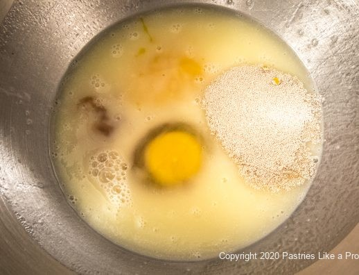 Eggs and yeast added