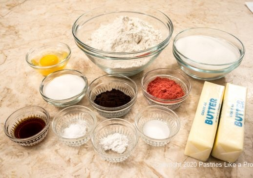 Ingredients for Neapolitan Butter Cookies