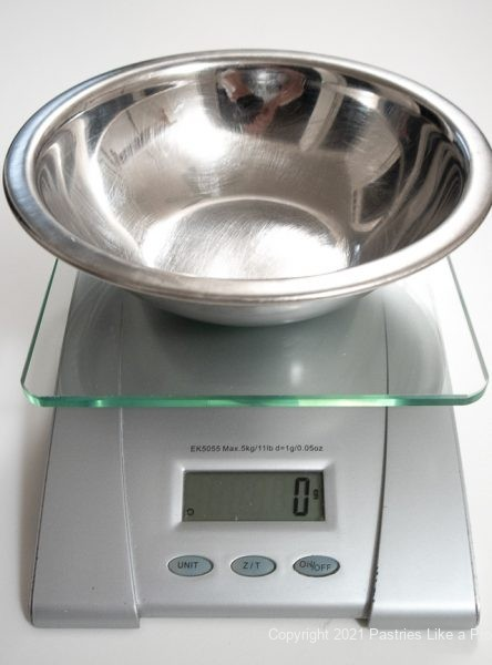 Empty bowl tared or brought to zero for Weinghing Ingredients using a Scale