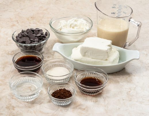 Ingredients for the Chocolate Coffee No-Bake Cheesecake